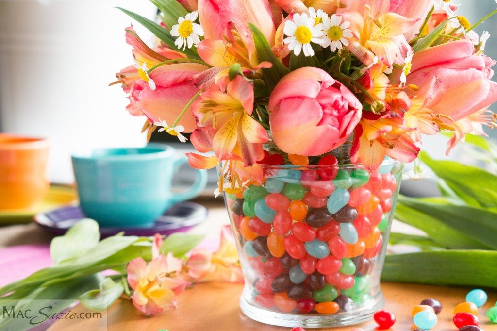 MacSuzie | Jellybean Easter Centerpiece - Make this adorable floral arrangement for under $10!!!