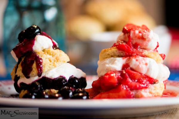 MacSuzie | Mini Red, White and Blueberry Strawberry Shortcakes - This double berry version of the classic summer dessert is perfect for your next gathering. Easily made ahead for stress-free entertaining!
