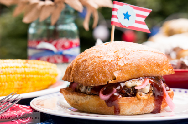 MacSuzie | Homemade Veggie Burgers with Blue Cheese & BBQ Sauce - This hearty veggie burger will be sure to please at your next cookout. Packed with flavor, it will satisfy even the staunchest of carnivores!