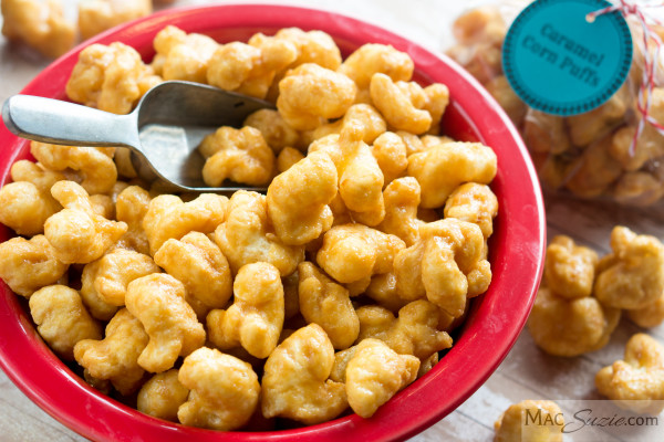MacSuzie | Caramel Corn Puffs - These crunchy, salty, sweet, melt-in-your-mouth bites have all the flavor of homemade caramel popcorn, without the annoying hulls! Good luck trying to eat only one handful...